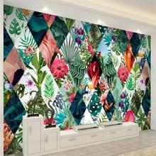 Beibehang Nordic tropical plants flower flamingo TV sofa background wall paper custom large mural green wallpaper