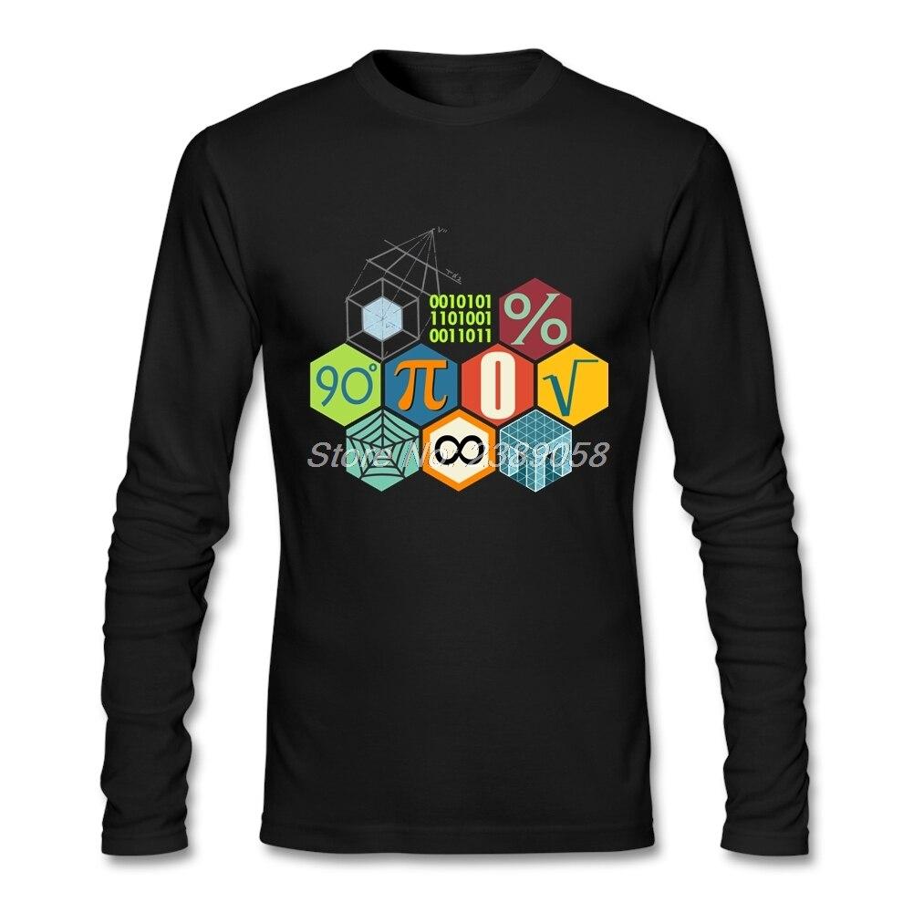 2017 Mens t-shirt Long Sleeve Math Pi Popular Casual Teacher Tee shirts Cotton Men t shirt