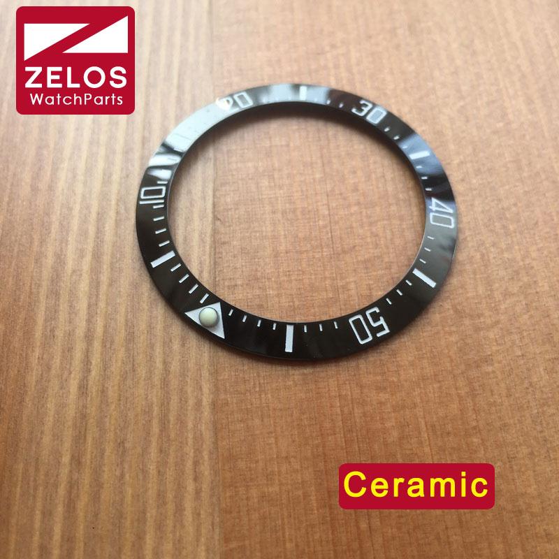 40mm Luminous ceramic watch bezels inserts for RLX sea-dweller deepsea 116660 98210 watch bezel loop replacement parts 116660 44 116710ln black