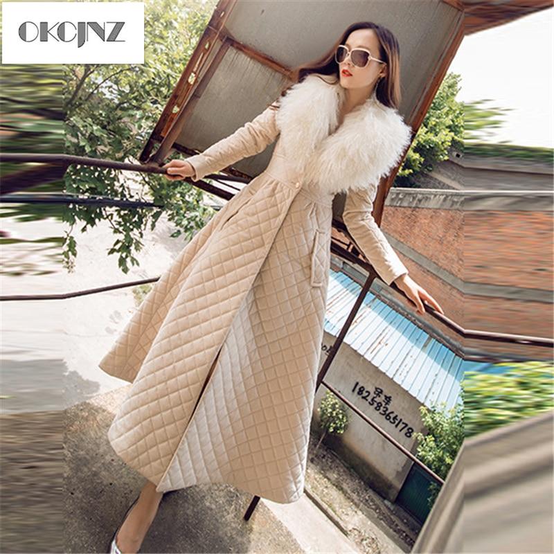 Big Fur Collar Cotton Padded Women 2019 Autumn Winter New European Slim Warm Cotton Coat Plus Long Female Outerwear YY048
