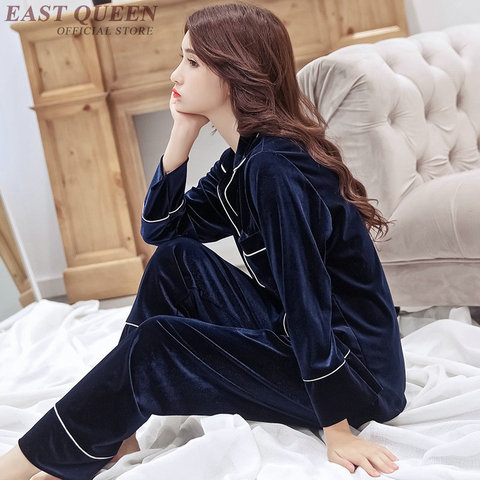 Female sleep & lounge in autumn and spring full sleeve pajama sets turn-down collar sleepwear women home clothes  AA3307  F Lahore