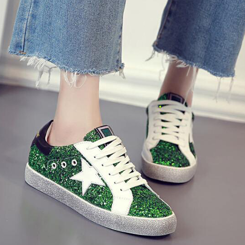 все цены на 2016 New Fashion Designer Casual Shoe Women Glitter Silver Black Star Low Cut Lace Up Comfortable Shoe