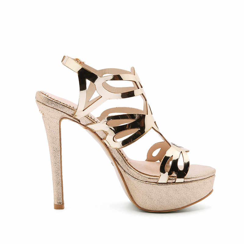 668528269ac ... COCOAFOAL Women Gold Open Toe Heels Sandals Plus Size 33 43 Platform Shoes  Sexy Silver Peep ...