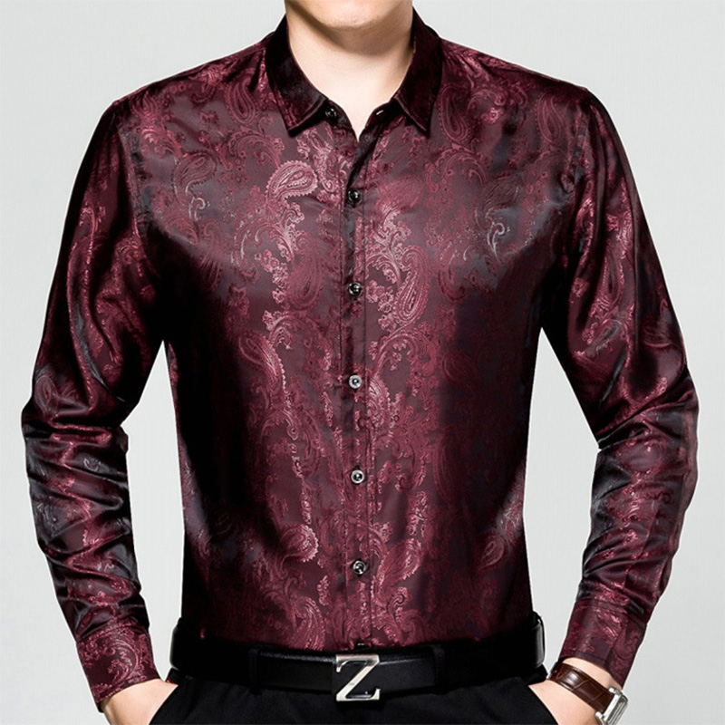 2019 New Arrive Men Fashion Jacquard Autumn Spring Long Sleeve Loose Silk Cotton Shirt Businese Casual Shirt