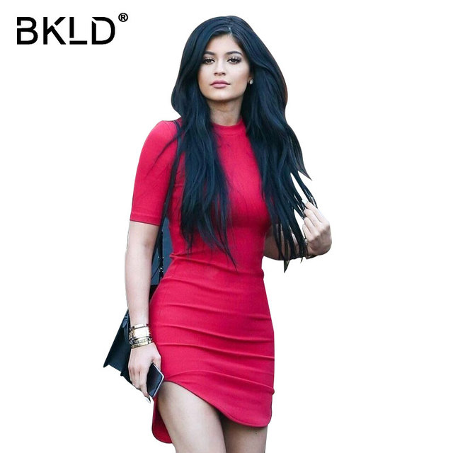 BKLD Sexy Sheath Women Causal Red Velvet Office Dress Crew Neck Half Sleeved Dress Elegant Bodycon Party Pencil Dresses Vestidos