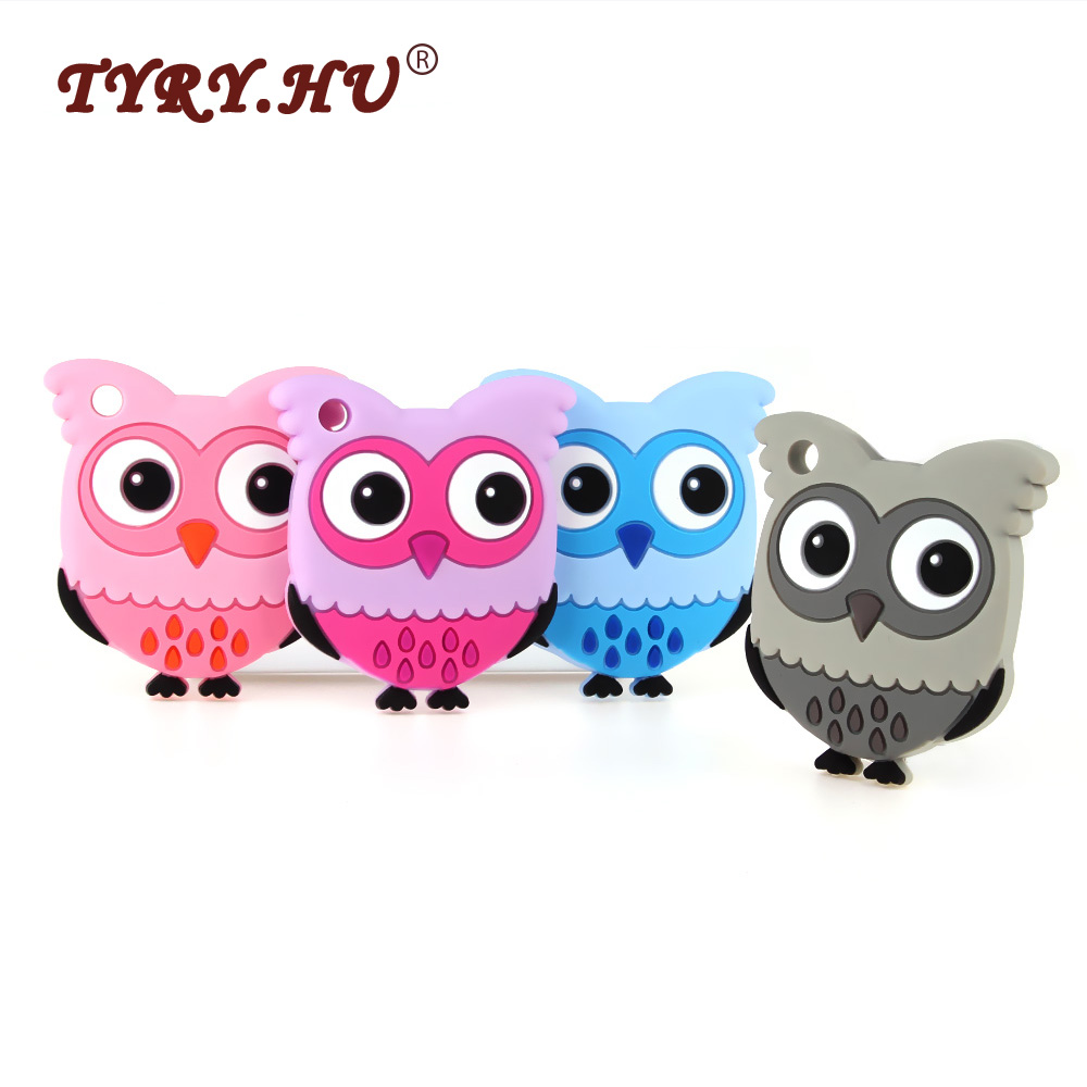 TYRY.HU 3Pcs Owl Shaped Baby Teethers BPA Free Silicone Teether Baby Teething Toys Infant Nursing Necklace Charms Silicone beads