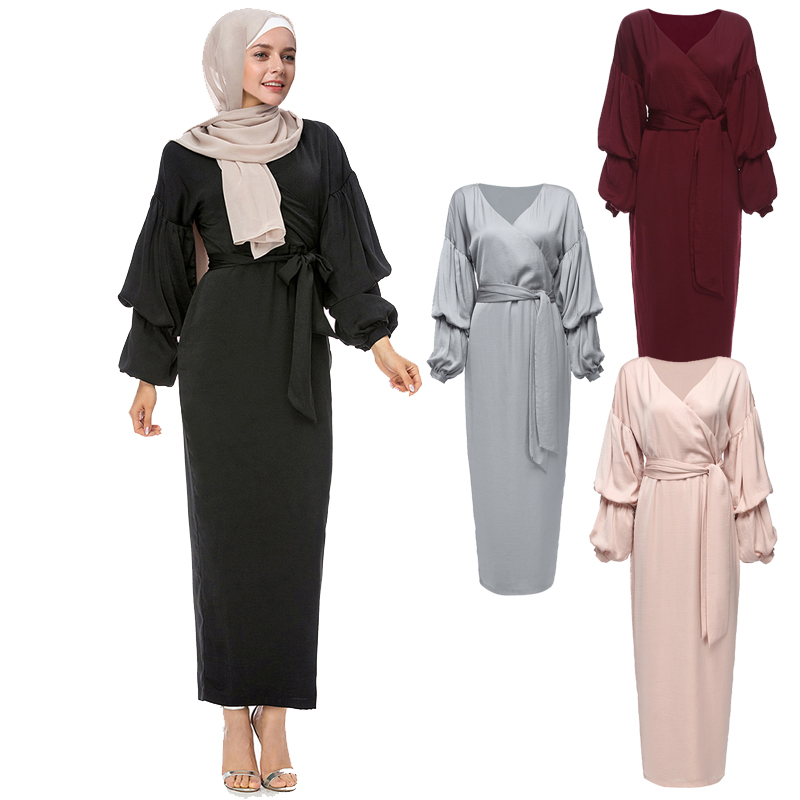 Kaftan Abaya Robe Dubai Arab Islam Muslim Hijab Dress Qatar UAE Oman Caftan Marocain Abayas For Women Turkish Islamic Clothing