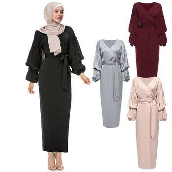 540c06342 Kaftan Abaya vestido Dubai árabe Islam musulmán Hijab vestido de Qatar