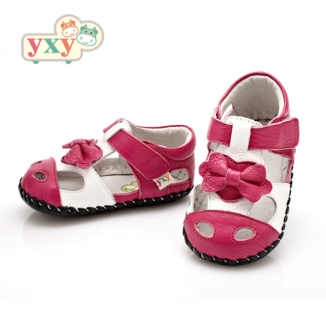 YXY Brand 2019 summer genuine leather Hollow BOW baby first walkers girls boys toddler hand-made Newborn sport shoes 4