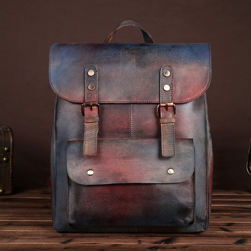 New Retro Handmade Color <font><b>Backpack</b></font> High Quality Cow <font><b>Leather</b></font> Travel Bag <font><b>Genuine</b></font> <font><b>Leather</b></font> Casual <font><b>Backpack</b></font> <font><b>Unisex</b></font> Couple <font><b>Backpack</b></font> image