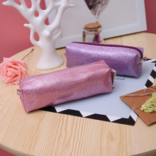 Kawaii Rectangle Solid Color Glitter Laser Pencil Case Waterproof Large Capacity Cosmetic Case School Bag Stationery Supplies