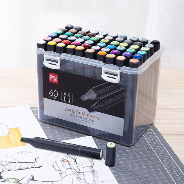 Deli 24/36/48/60 Renk resim kalemi Çift Ipuçları 1 7mm Ince Fırça Belirteçleri Kalem su Bazlı Mürekkep Marker Çizim Manga Sanat Malzemeleri