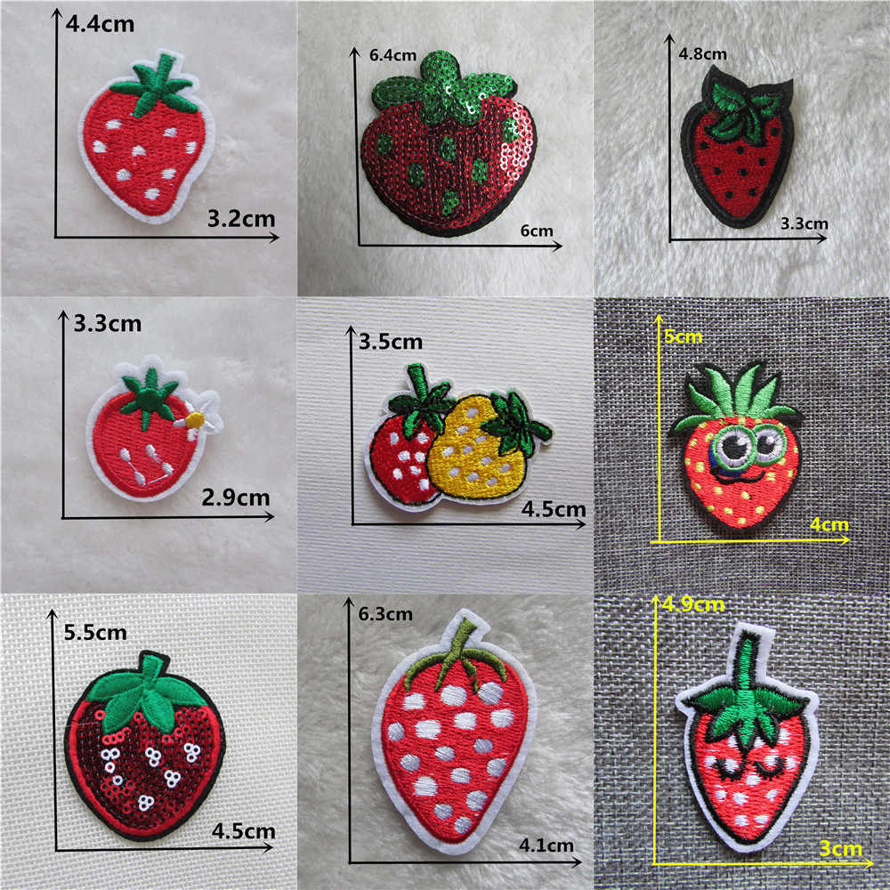Hot sale Strawberry fruits Stickers embroidered iron on patches DIY jacket cloth Accessories Clothing bag hat Patch Appliques