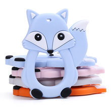 Chenkai 10pcs Silicone Fox Teether DIY Baby Rattle Pacifier Dummy Teething Nursing Animal Pendant Jewelry Sensory Toy BPA Free
