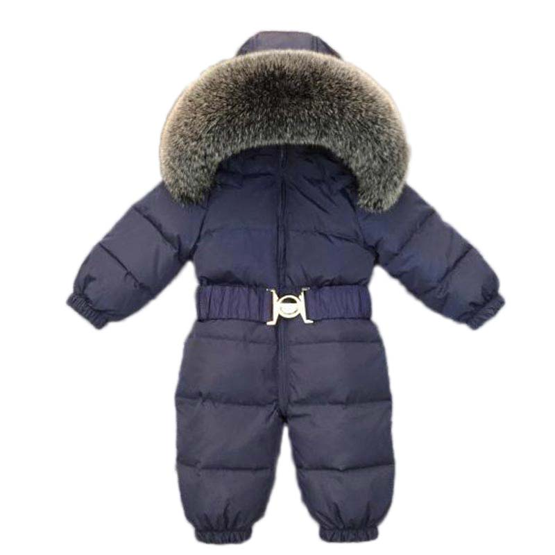new born baby clothes 2018 winter Down jacket coats baby rompers Natural fur collar fox fur snowsuit children boy girls jackets 5615 new fashion children natural fur jacket boy