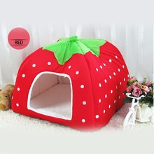 free shipping Pet Cat House Foldable Soft Winter Leopard Dog Bed Strawberry Cave Dog House Cute Kennel Nest Dog Fleece Cat Bed