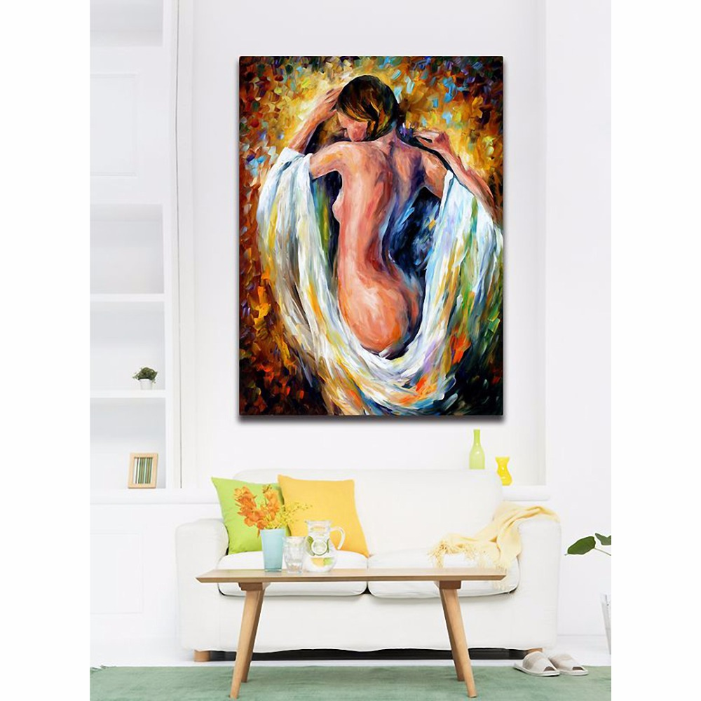 Sexy Side Naked Woman Nude Painting Body Art Palette Knife Painting Canvas Prints For Home Cafe Hotel Wall Decor Art Acrylic Painting Paintings Modiglianiart Galleries Paintings Aliexpress
