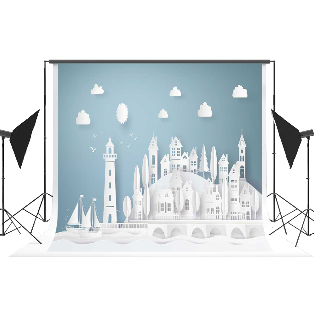 Kate Cartoon Blue Photography Background Seamless White Origami Paper Photo Backdrop Fotostudio Achtergrond Studio for Kids Fond kate christmas village background cartoon photography backdrop moon backgrounds blue winter background for children shoot