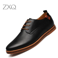 2015 Leather Casual Men Shoes Fashion Men Sneakers Round Toe Comfortable Office Men Dress Shoes