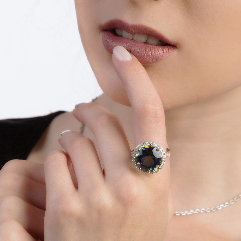 Image 2 - Gems Balle 13.0Ct Natural Blueish Mystic Quartz 925 sterling  silver Cocktail Rings Fine Jewelry For Women Wedding Engagementfine  jewelryjewelry ringsjewelry women rings