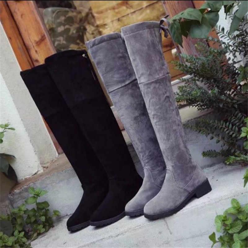 0 2018 ฤดูใบไม้ร่วงฤดูหนาวใหม่ plus แคชเมียร์เข่ารองเท้าผู้หญิงสูงรองเท้าบางสตรี knight รองเท้า S022