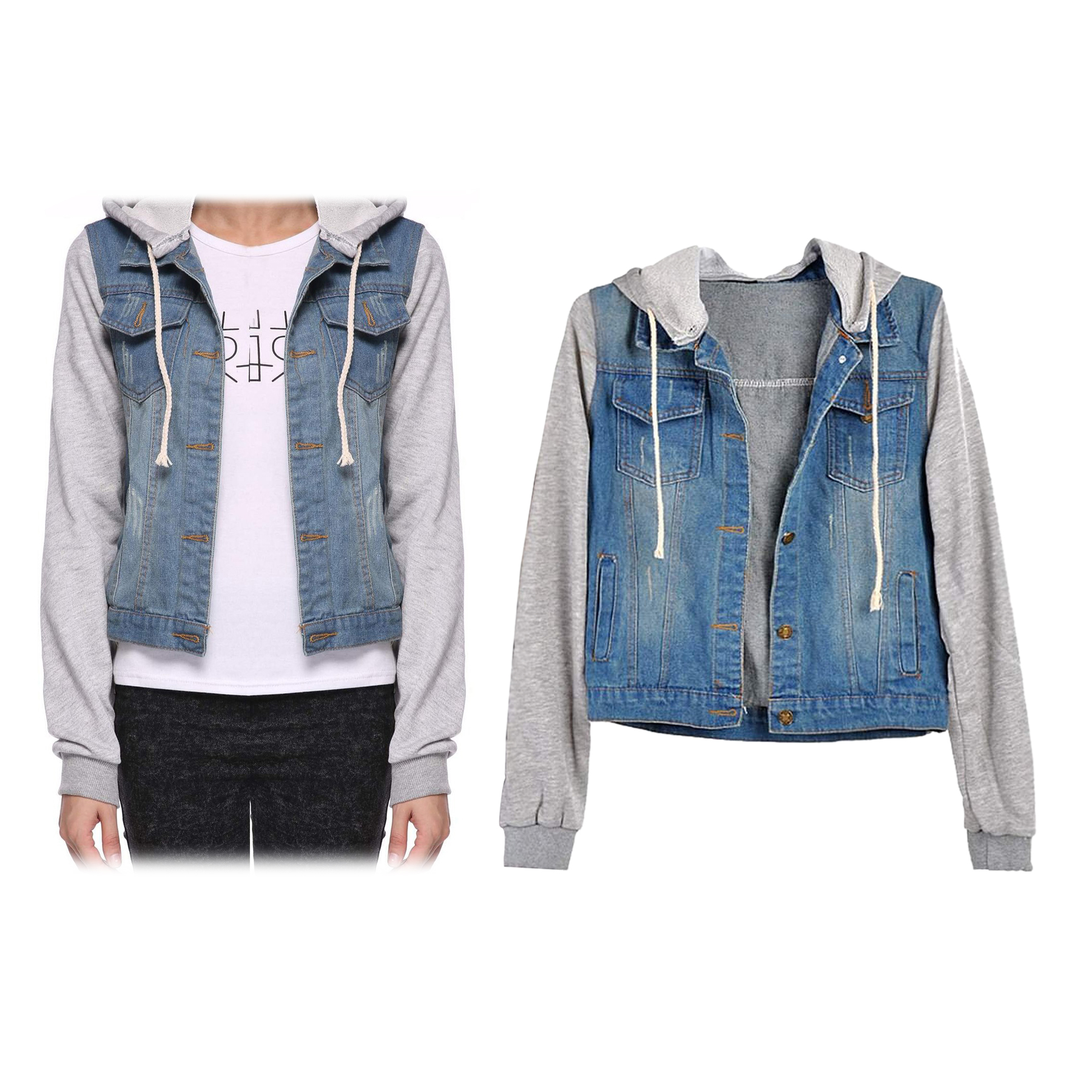 Womens Denim Hoodie Outerwear Hooded Jeans Coat Jacket ...