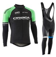 Cycling Jersey Bib Set ORBEA Team 2018 Long Sleeve Spring Autumn Breathable Anti Sweat Outdoor Sport