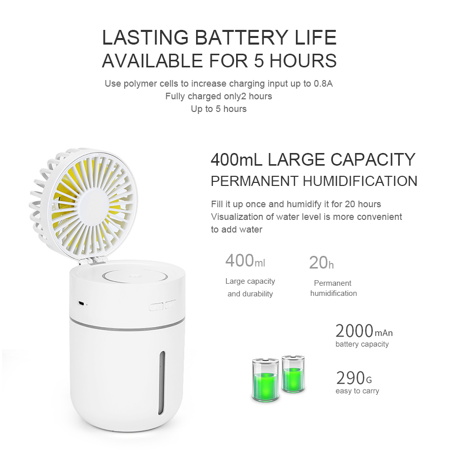 Portable 400ML Air Humidifier Mini Fan 2000mAh Battery 7Color Night Light Aroma Essential Oil Diffuser Humidificador