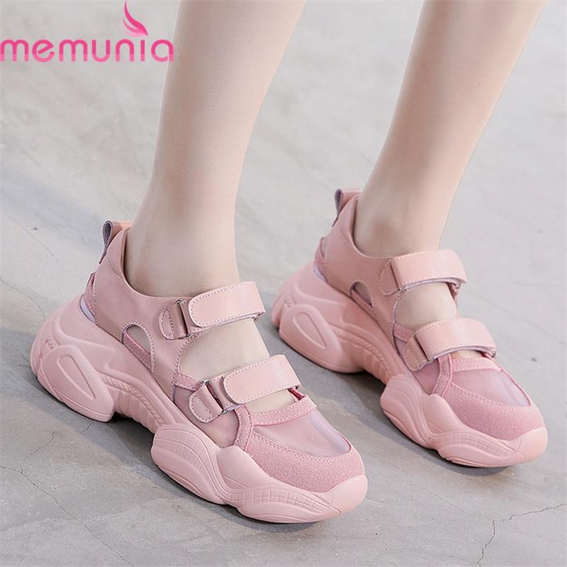 MEMUNIA 2019 ขายร้อนรองเท้าผ้าใบผู้หญิงรองเท้าตาข่ายหนังรอบ toe hollow out รองเท้าผู้หญิงแพลตฟอร์มรองเท้าผ้าใบ-ใน รองเท้าส้นเตี้ยสตรี จาก รองเท้า บน AliExpress - 11.11_สิบเอ็ด สิบเอ็ดวันคนโสด 1