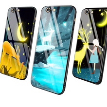 Toughened glass mobile phone case is suitable for the cute of iPhone XS XR Max 6 s 7 8 Plus cartoon
