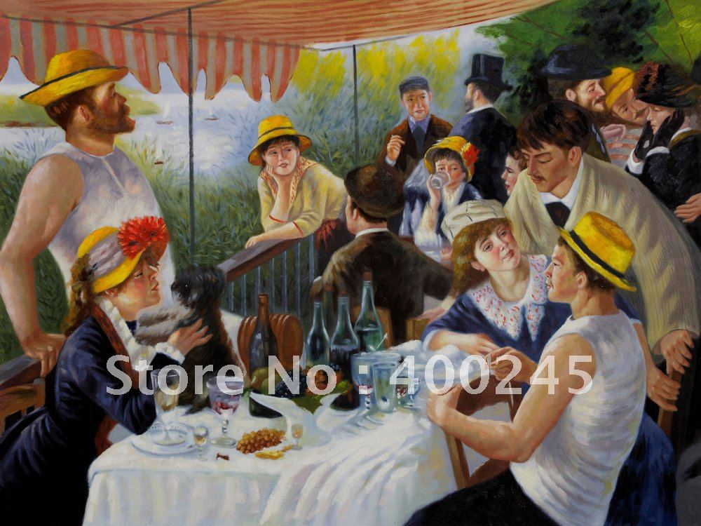 100 Famous People Painting: Oil Painting Of People Luncheon Of The Boating Party By