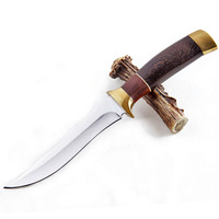 DuoClang Outdoor Survival Multi Knife Double Brass Head+ Wenge Wood Handle Fixed Blade Knife Boutique Collection