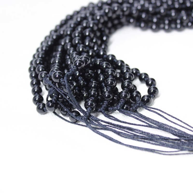 Czarny obsydian 6mm naszyjnik z koralików na wisiorek z kamienia naturalnego DIY szczęśliwe koraliki naszyjnik łańcuch biżuteria akcesoria dla mężczyzn/kobiet