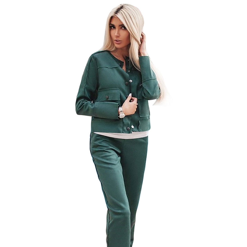 MVGIRLRU Elegant Women's Suede Suits Ladies Pant Suits Single-breasted Pockets Jacket And Trouser Sets