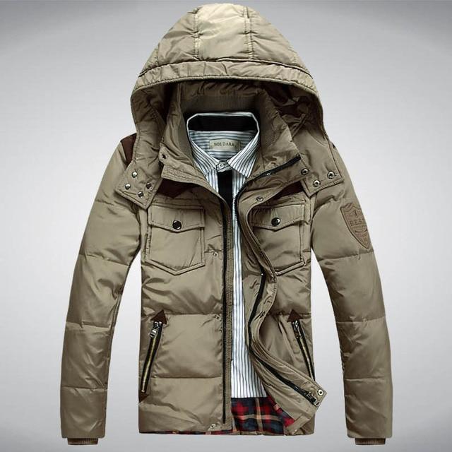 Los hombres chaqueta de invierno Caliente grueso abrigo largo abajo negro de Los Hombres de los hombres encapuchados chaquetas Hombre pato blanco abajo Acolchadas Parkas WQ98Y