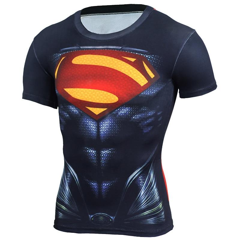 Új 2018 3D kompressziós ing Fitness férfiak szuperhős képregények Superman Gyors szárítás edzőcipő Ruházat Rövid ujjú póló férfi