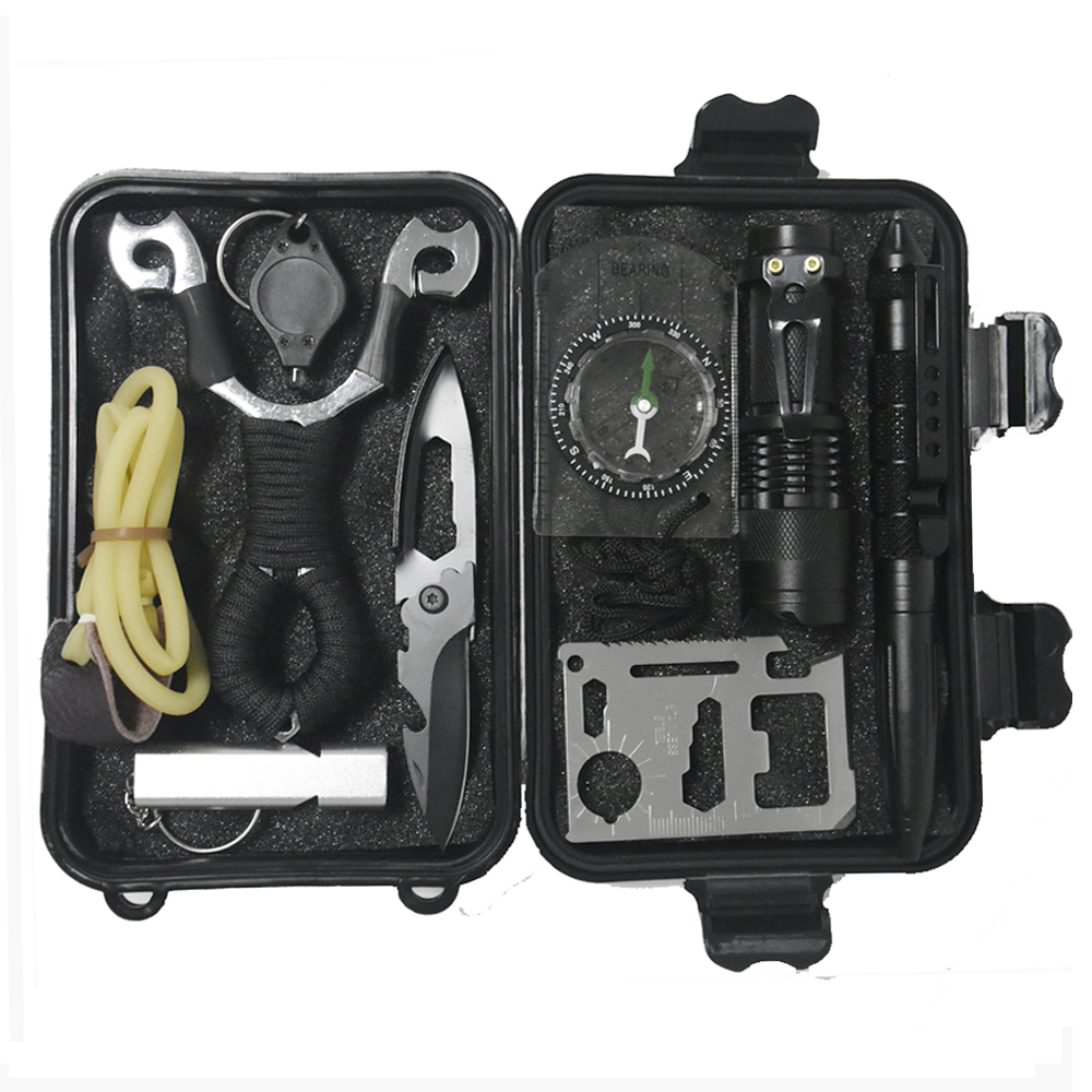 10 In 1 Survival Kit Set Outdoor Camping Travel Multifunction First Aid SOS EDC Emergency Supplies Tactical+slingshot