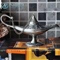 """Neo 12 cm (4.7 """") nuevo mango curvo leyenda rara magia aladdin genio quemadores de incienso lámpara retro deseando lámpara de aceite de la decoración del hogar"""