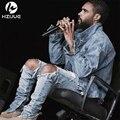 Hip hop pantalones kanye hombres frazzle mono diseñador de moda marca azul claro con cremallera flaco apenada jeans rasgados slp