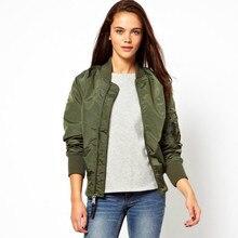 2016 autumn Women Thin Jacket Tops Celeb Bomber Long Sleeve Coat Fashion Stand Collar Slim Fit Outerwear Pilot Bomber Jackets