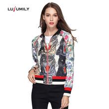 Lusumily Floral Bomber Jacket Women Spring Embroidered Print Tiger Thin Long Sleeve Zipper Boho Chic Zipper Streetwear Basic Coa(China)