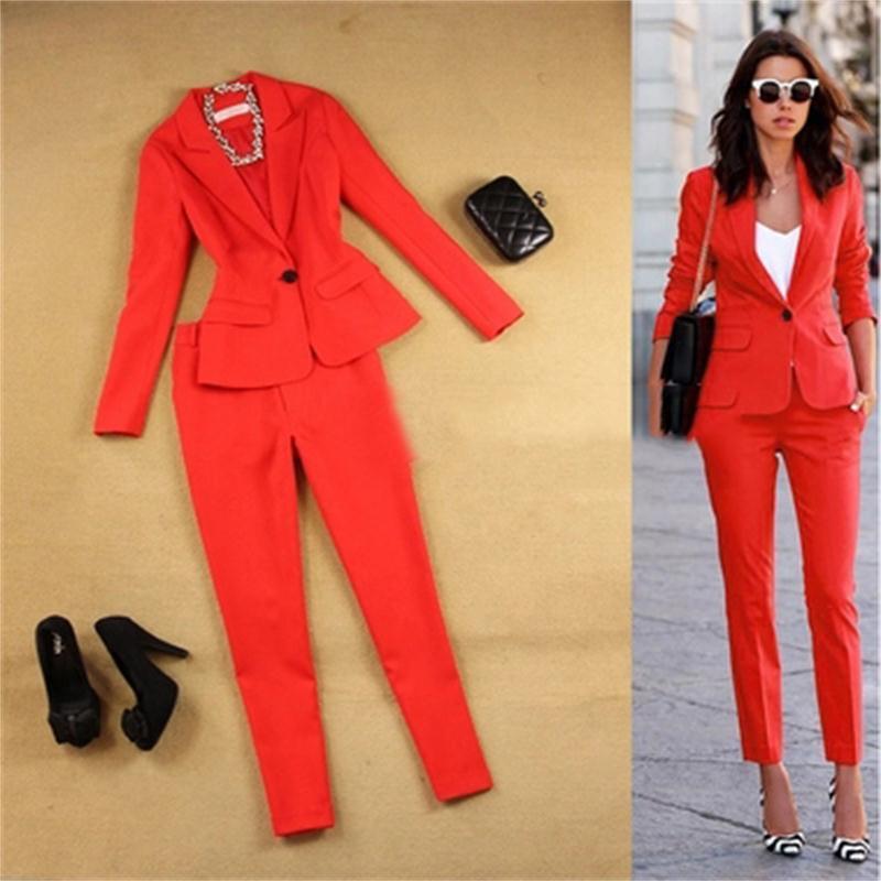 Red Women Suit Sets Blazer & 9 points pants Work Pants Suits 2 Piece Sets Office Lady Suits Women Outfits Autumn New 2018