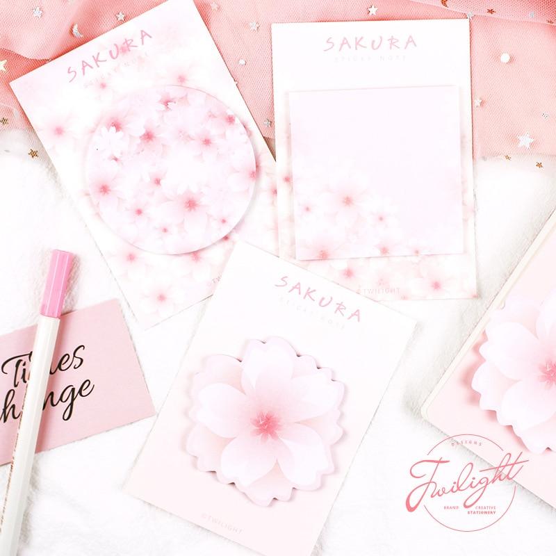 Beautiful Sakura Cherry Memo Pad N Times Sticky Notes Escolar Papelaria School Supply Bookmark Label