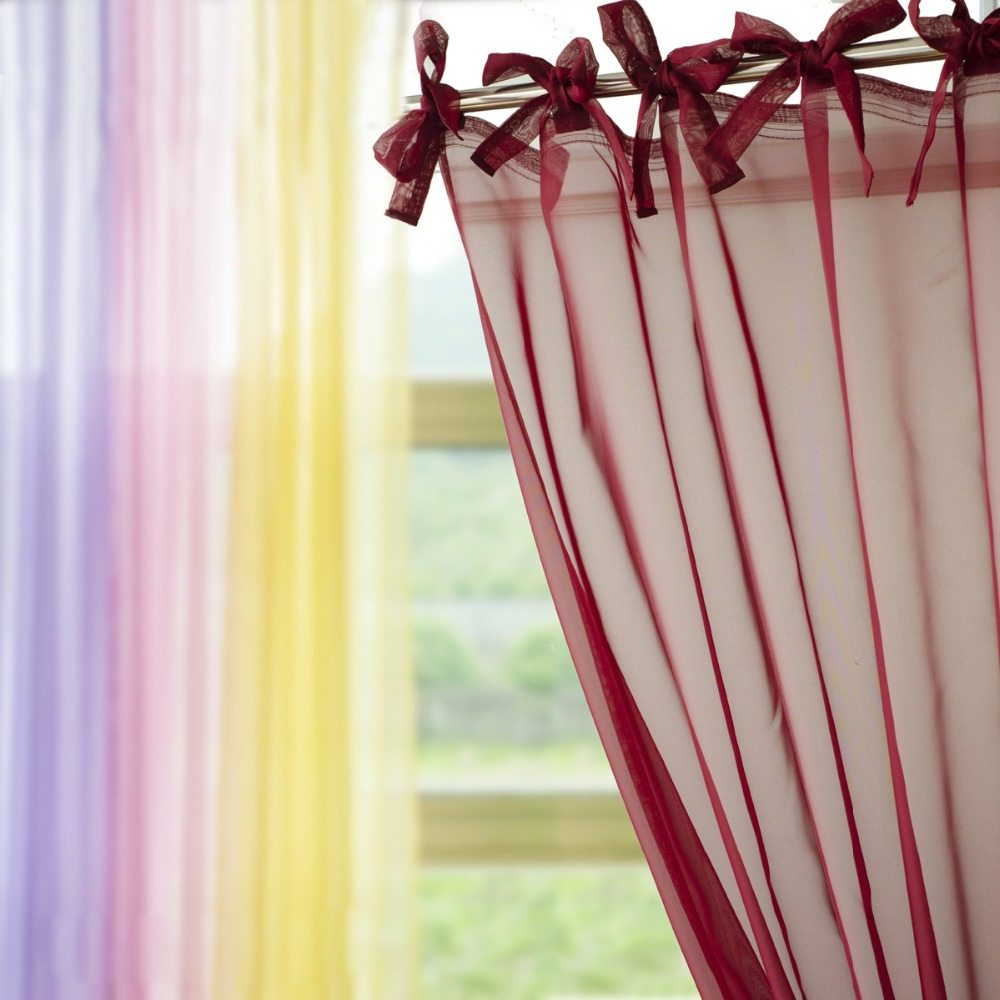 New Tie Top Voile Tulle Sheer Curtain Window Screening Cafe Hotel Bed Mantle Bedroom Dividers Purdah Living Room Decorative In Curtains From Home Garden