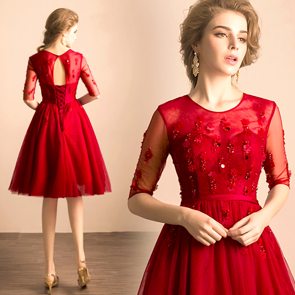 2016 new arrival stock maternity plus size bridal gown evening dress Wine  Red Lace Sexy Short princess belt backless 1183 56bd72a6ed8f