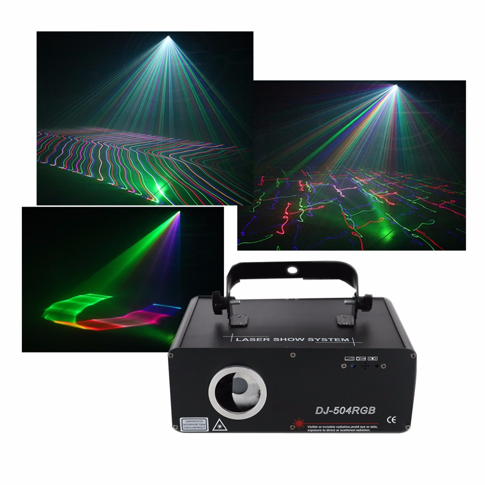 AUCD 5 In 1 RGB 3D Network Laser Program Source DMX Projector Stage Lighting PRO DJ Show KTV Scanner Lights DJ-504RGB