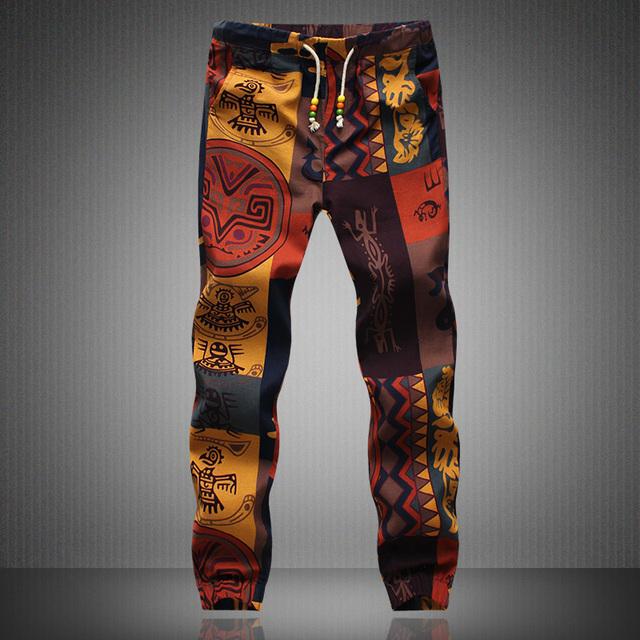 Mens Joggers 2016 Marca Masculinos Pantalones de Lino Hombres Pantalones Casuales Pantalones de Chándal Basculador 5XL