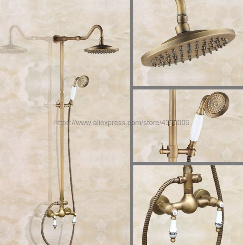 Antique Brass Bathroom Shower Faucet 8 Rainfall Shower Head with Hand Shower Cold and Hot Water Faucet Sets Ban508 factory direct sale best price 8 brass head shower with hand shower bathroom shower faucet antique