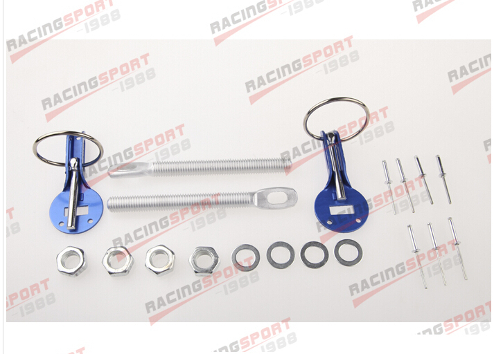 ALUMINUM RACING FLIP OVER STYLE SECURITY HOOD PINS/DECK PIN+BOLT+LOCK SET KIT ...