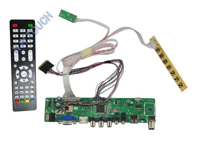 LA. MV56U. Um Novo Universal HDMI USB AV VGA ATV PC Placa Controladora Do LCD de 15.6 polegadas 1366x768 B156XW02 LED LVDS Monitor Kit